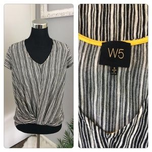 Anthropologie W5 Blouse S Striped Ruched Front Top